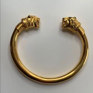 MMA saber tooth tiger gold tone bangle cuff